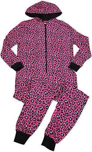 B O P J Ladies Leopard Cozy Hooded Micro Fleece Sleep Onesie PJ, Pink 38703-X-Large