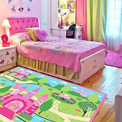 HUAHOO Pink Girls Bedroom Rugs Cartoon Castle Kids Rug Bedroom Floor Rugs  Nylon Cartoon Kids Living Room Carpet (100cm133cm(39\'\'52\'\'))