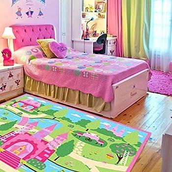 HUAHOO Pink Girls Bedroom Rugs Cartoon Castle Kids Rug Bedroom Floor Rugs  Nylon Cartoon Kids Living
