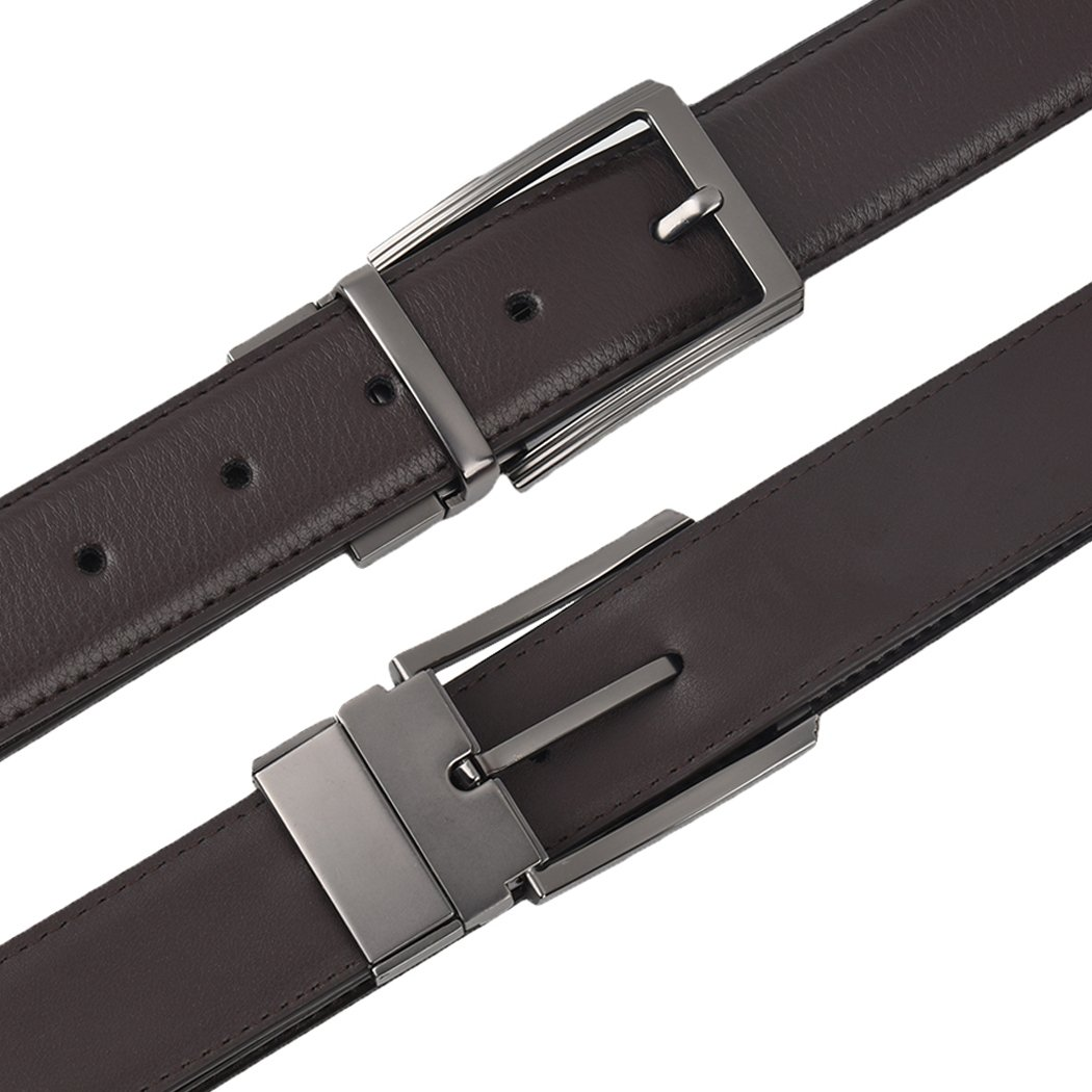 LaLaMa Mens Genuine Leather Dress Belt Reversible with Single Prong Buckle
