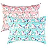 IBraFashion Toddler Pillowcases for Girls Unicorn Pillowcases 14x19 for 13x18, 12x16 Pillow 100% Cotton Cute Princess Unicorn Printings Set of 2