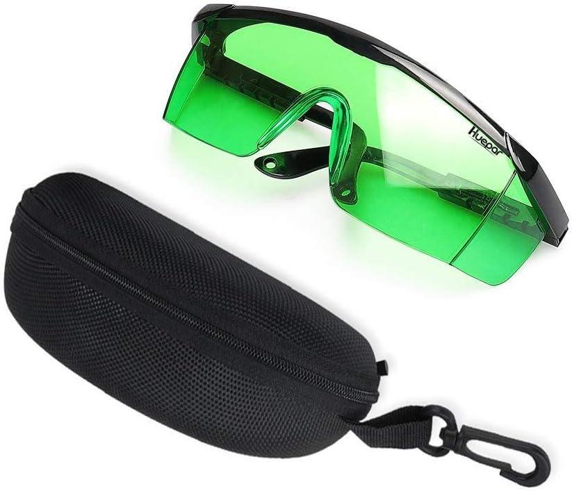 Láser verde Gafas mejoradas-Huepar GL01G Ajustable Gafas para mejorar la seguridad de protección para los ojos para Alineación de nivel láser verde
