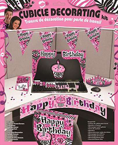 Happy Birthday Cubicle Decorating Kit - Pink (Cubicle Birthday Decorations)