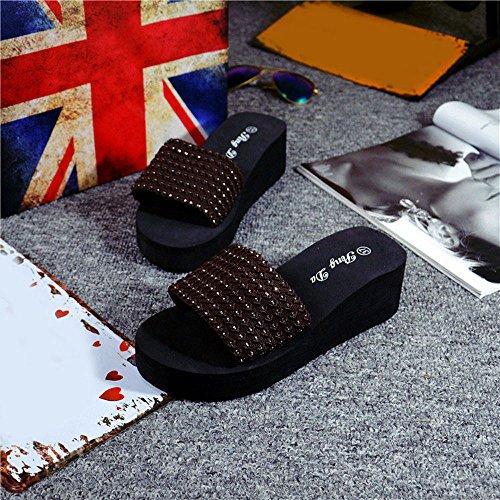 Ularma Verano de la mujer zapatos sandalias EVA zapatilla marrón
