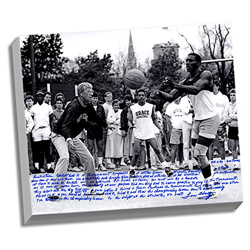 Brown Stretched Canvas (NCAA Notre Dame Fighting Irish 22x26 Lou Holtz Facsimile 'Basketball vs. Tim Brown' Story Stretched Canvas)