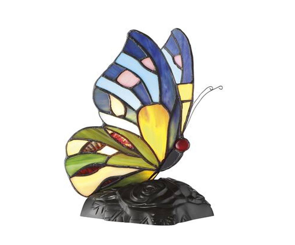 Tiffany Style Accent Desk Butterfly Lamp Home Indoor Decor - Vintage Bronze, Multicolor - 5.5'' D x 4'' W x 8.5'' H