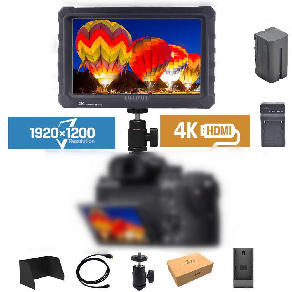 LILLIPUT A7S 7'' 1920x1200 IPS Screen Camera Field Monitor 4K HDMI Input Output Video for DSLR Mirrorless Camera Sony A7S II A6500 Panasonic GH5 Canon 5D Mark IV DJI Ronin M Black case Exclusively