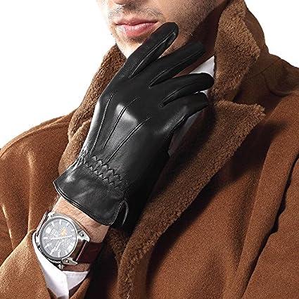 MINGXIN mens genuine nappa leather winter gloves slim cuff warm cashmere lining
