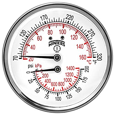 "Winters TTD Series Steel Dual Scale Tridicator Thermometer with 2"" Stem, 0-200psi/kpa, 3"" Dial Display, ±3-2-3% Accuracy, 1/2"" NPT Back Mount, 70-320 Deg F/C"