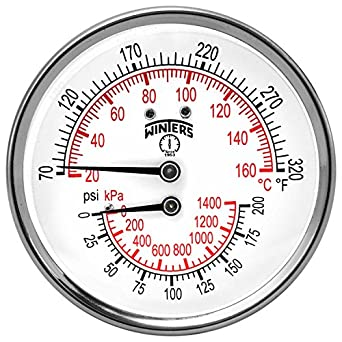 """Winters TTD Series Steel Dual Scale Tridicator Thermometer with 2"""" Stem, 0-200psi/kpa, 3"""" Dial Display, ±3-2-3% Accuracy, 1/2"""" NPT Back Mount, 70-320 Deg F/C"""