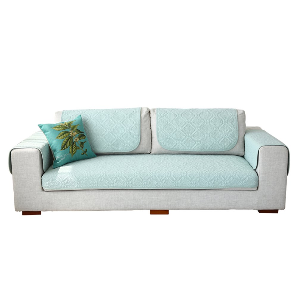 KELE Cotton Quilted Anti-Slip Couch Cover Sofa slipcover, Blue Sectional Sofa Shield Reversible Furniture Protector Window Cushion pad-Blue Coloured Glaze 43x59inchcm(110x150)