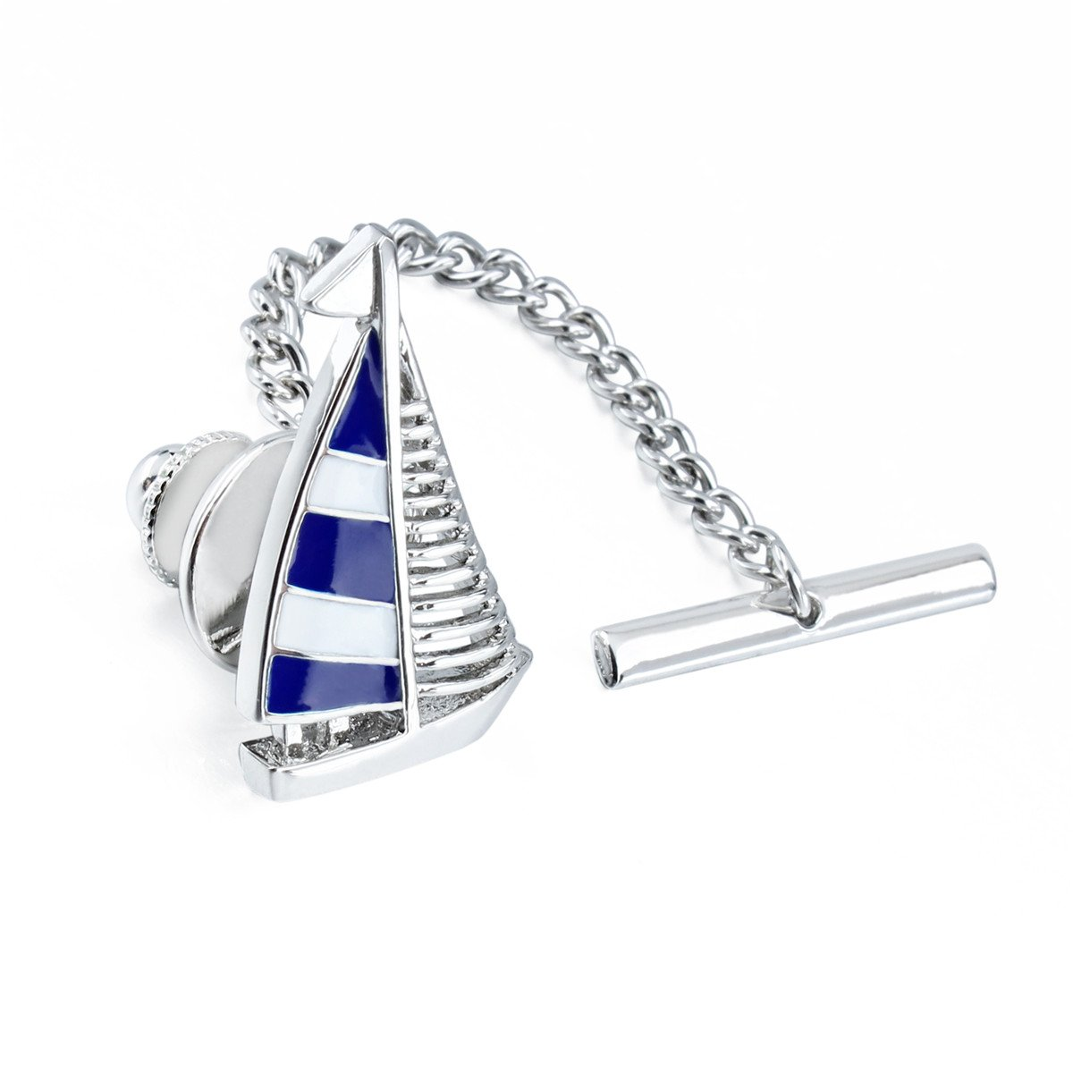 HAWSON Blue Tie Clip Tie Tack with Clucth Back Wedding Party Accessories - Sailing Boat Shape by HAWSON (Image #3)