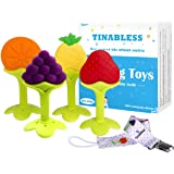 Baby Teething Toys - Tinabless Teething Keys Set Soft Silicone BPA-Free Baby Fruit Teethers Toys Teething Pacifier with Pacif