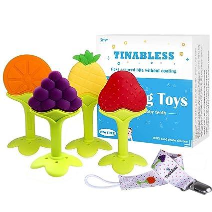 Juguetes para la dentición - Tinabless BPA Free Freezer orgánico natural llaves de la dentición segura CON Soporte para mordedor / mordedor para bebés ...