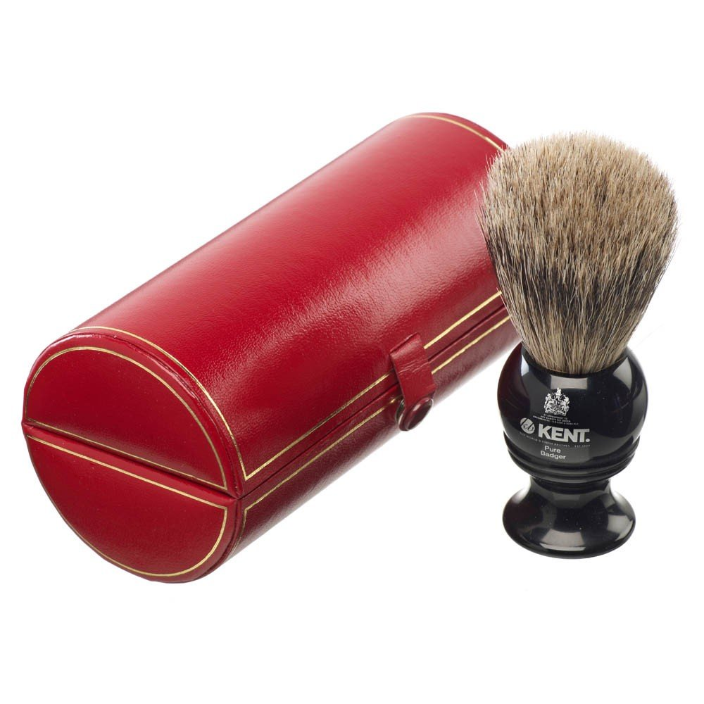Traditional small/travel sized, pure silver-tipped badger brush by KENT