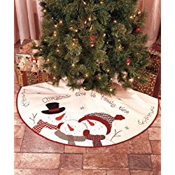 Christmas Tree Skirt, 46 inches in diamener, Embroidered Christmas Time is Family Time by ABC