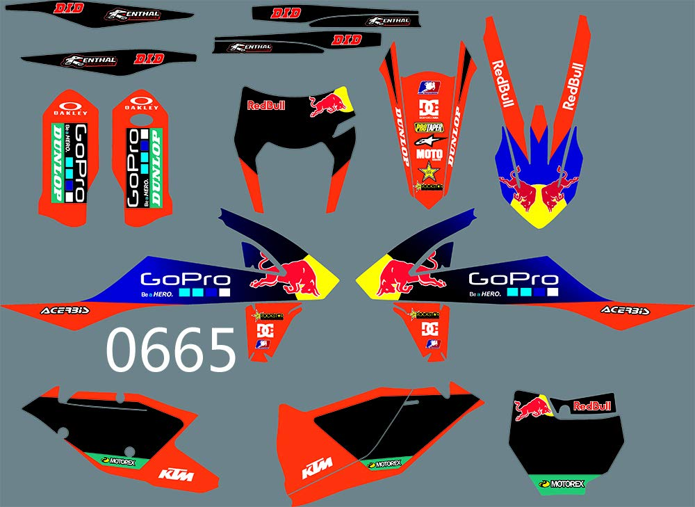 Ruilian DST0665 3M Customized Motorcross Graphics Motorcycle Decals Stickers Kit Fit for KTM EXC EXCF XCW 2017-2019 & SX SXF XC XCF 2016-2018