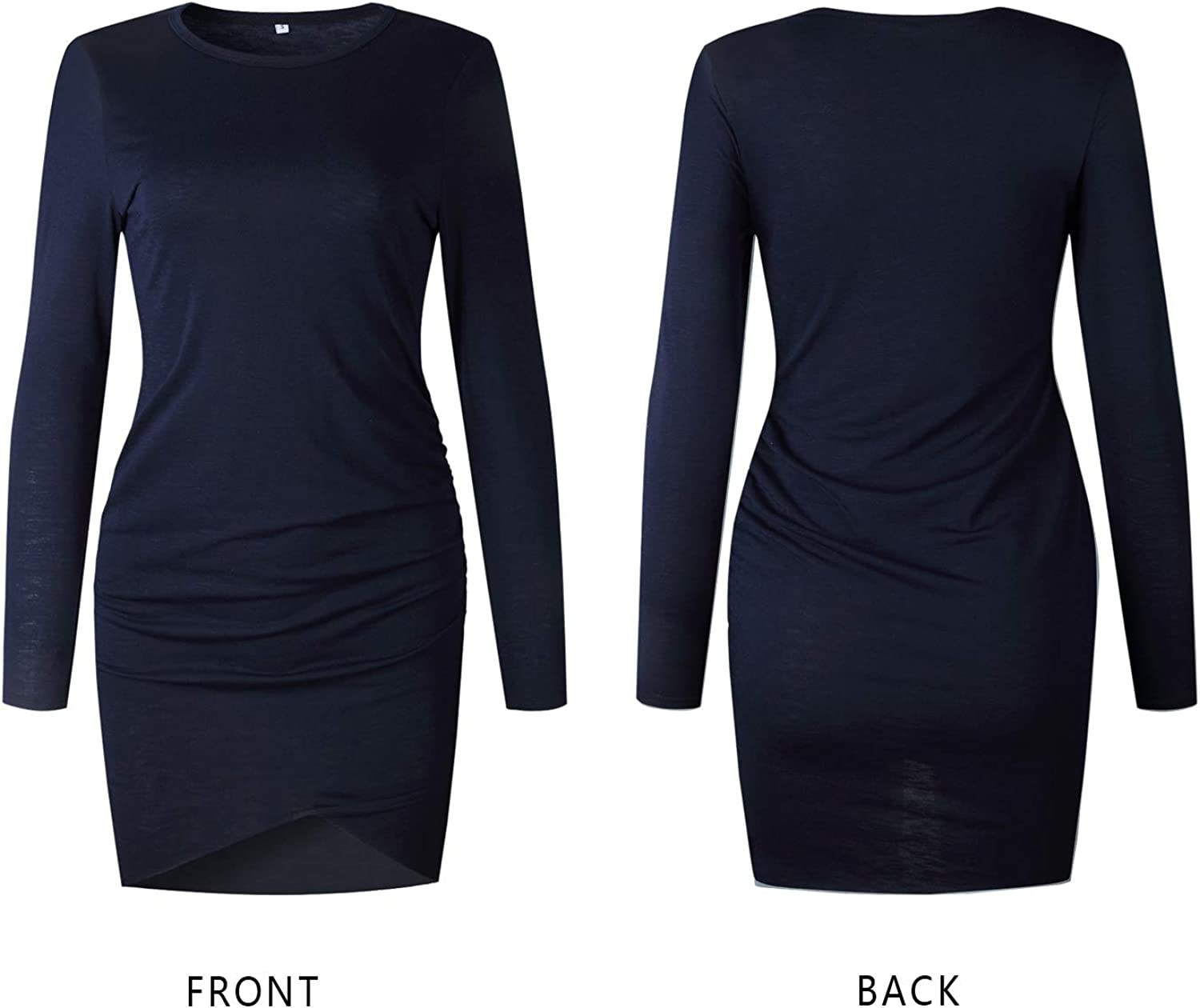 Mansy Womens Long Sleeve Tulip Bodycon Dress Ruched Short Mini Dresses