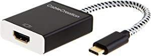 CableCreation USB C to HDMI 4K Adapter, USB Type C to HDMI Cable Adapter, Compatible with MacBook Pro 2019, 2018, Surface Book 2, Yoga 920, Samsung S9/ S8, Dell XPS 13/15, Braided, Black