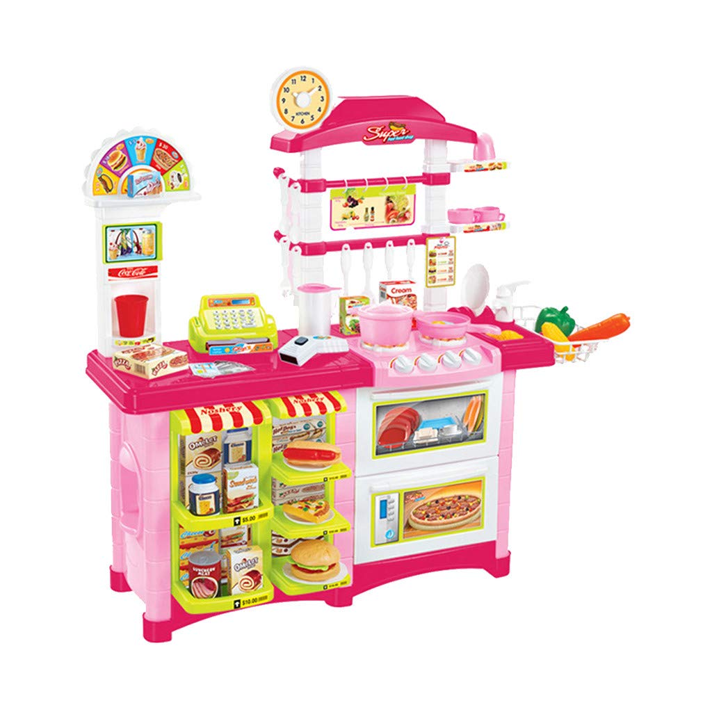 DDgrin Cashier Toy Cash Register Pretend Play Set for Kids | Colorful Children's Supermarket Checkout Toy with Microphone