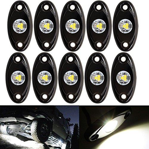 (LED Rock Light White Kits Offroad JEEP ATV SUV Truck Boat Underbody Glow Trail Rig Lamp Waterproof (10PCS,White))