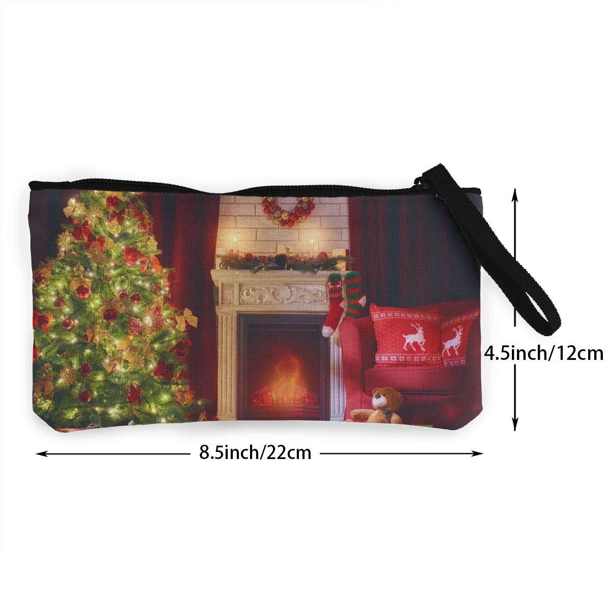 Canvas Cash Coin Purse,Vintage Christmas Fireplace Print Make Up Bag Zipper Small Purse Wallets