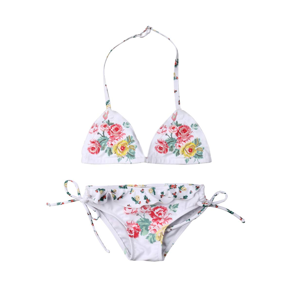 Douhoow Toddler Kids Girls 2-Pieces Swimsuit Bottom Beach Wear Swimwear Set Floral Halter Bikini Tops