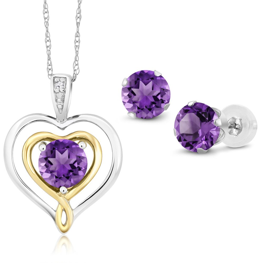 10K Two Tone Gold 1.86 Ct Purple Amethyst and Diamond Pendant Earrings Set