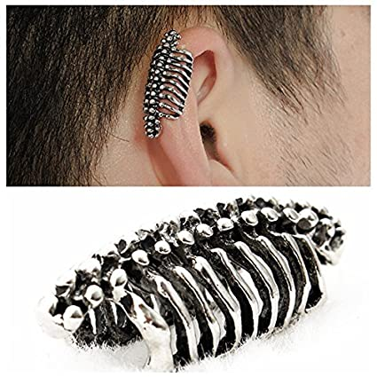 98c96c632 Image Unavailable. Image not available for. Color: WD Jewelry Unisex 1PC  Punk Skull Spine Bone Non Pierced Ear Clips Earring