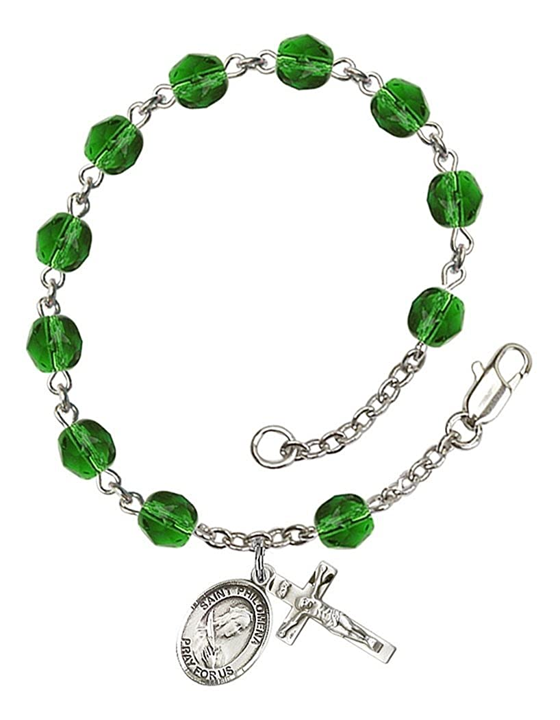 May Birth Month Bead Rosary Bracelet with Patron Saint Petite Charm 7 1//2 Inch
