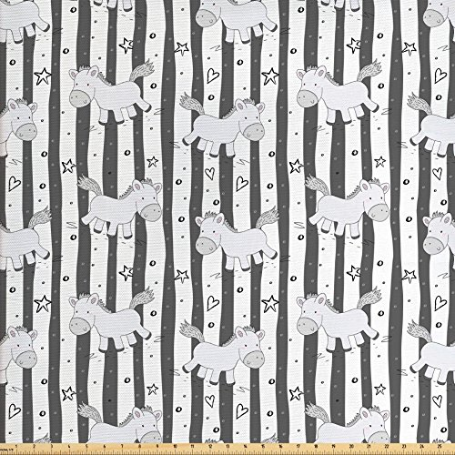 Ambesonne Kids Fabric by the Yard, Vertical Stripes with Doodle Stars Hearts Dots and Funny Ponies Nursery Theme, Decorative Fabric for Upholstery and Home Accents, Grey White Black