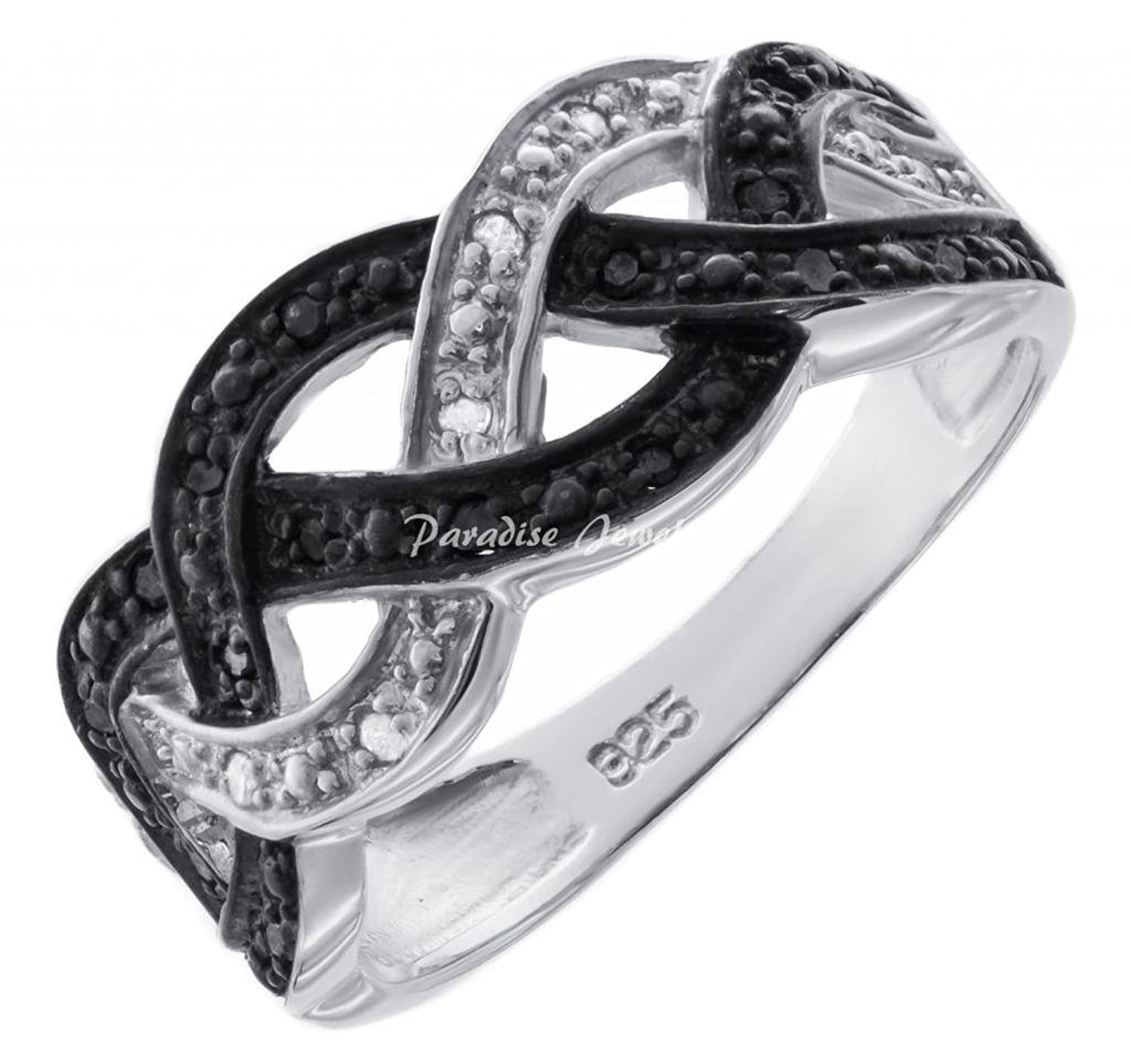 Women's 0.50CTW B&W Micropave Diamond 14K White Gold-Plated Sterling Silver Woven Band, Size 7