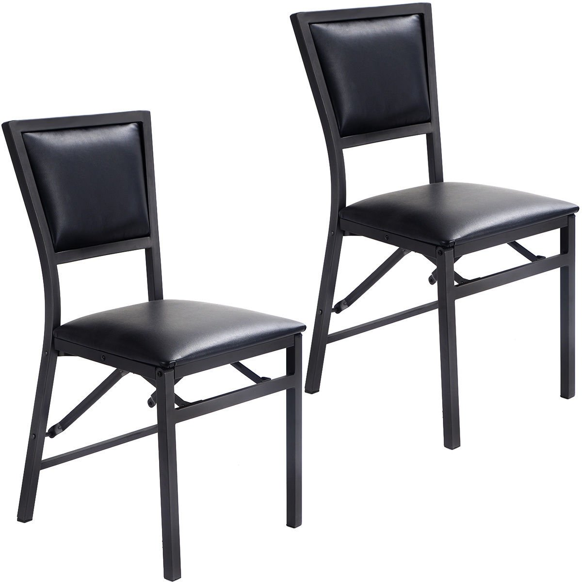 Giantex Set of 2 Metal Folding Chair Dining Chairs Home Restaurant Furniture Portable (18.1 X 15.4 X 33.3)