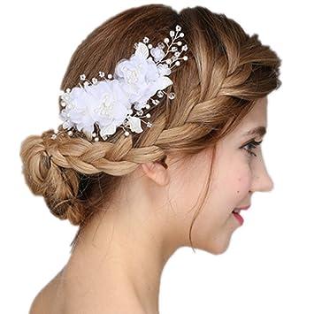 4d43e4836 Amazon.com : Meiysh Handmade Bridal Flower Hair Clips with Simulated Pearl  and Beads Wedding Hair Accessories : Beauty