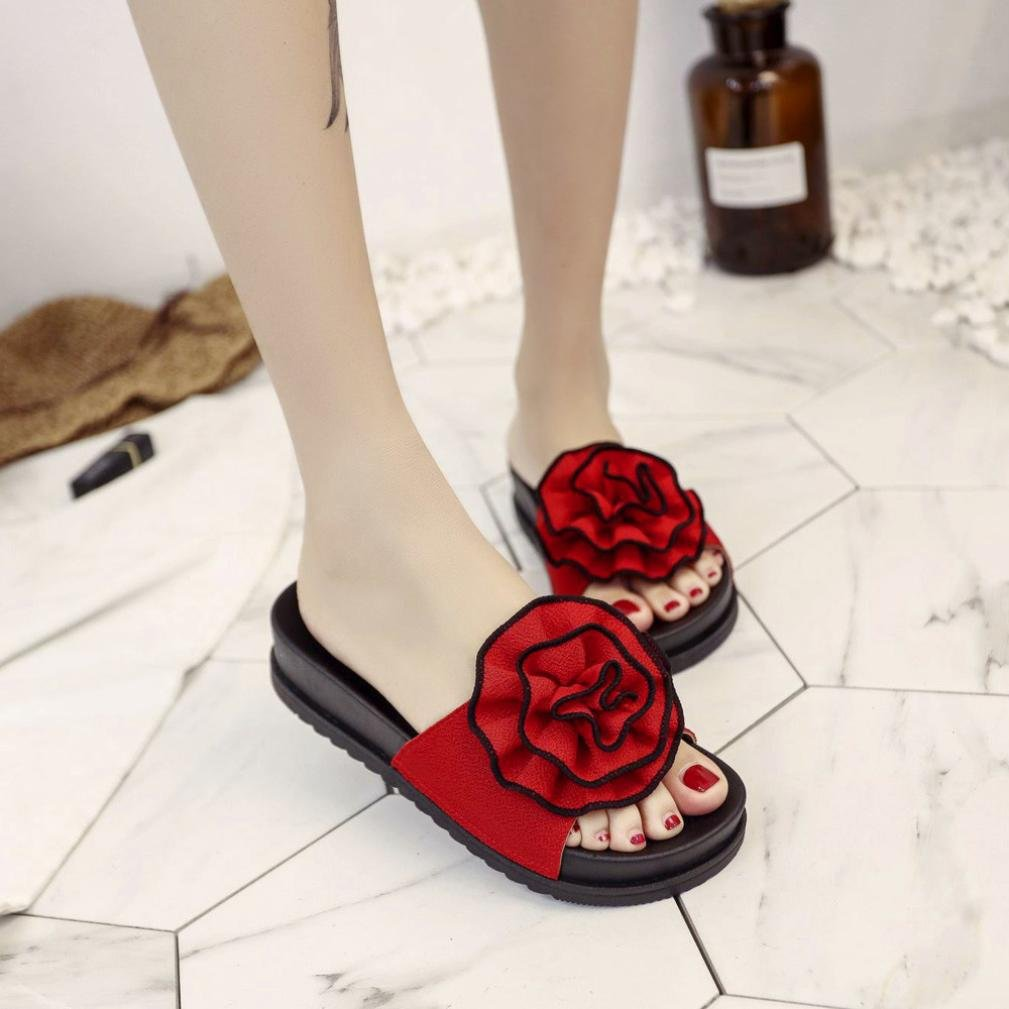big sale 1bea1 c03c4 Sandalias de plataforma Inkach para mujer - Sandalias de verano para mujer  de moda Zapatillas de baño casuales con cuña de playa rojo