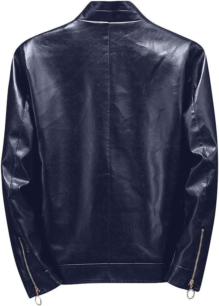 Tosonse Giacca in Ecopelle Uomo Inverno Casual Giacca Tinta Unita Cerniera Maniche Lunghe Cappotti Top Camicette Trapuntate da Uomo Blu Scuro
