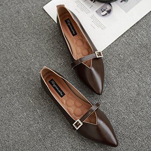 Xue donna Scarpe piatte bassa piatte scarpe una solo poco pedana Qiqi con con appuntita scarpe scarpe scuro femmina profonde casual bocca Marrone comode rHrRq