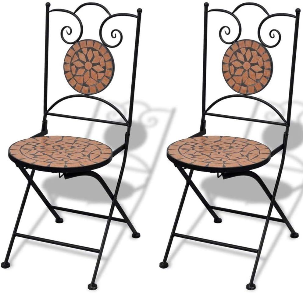 Wakects Set 2 sillas Mosaico Asiento de Cerámica Jardín Terraza Balcón Color Terracota, Silla Plegable con Mosaico de Cerámica, Silla Exterior de Hierro, Silla Exterior para Balcón, Terraza o Jardín