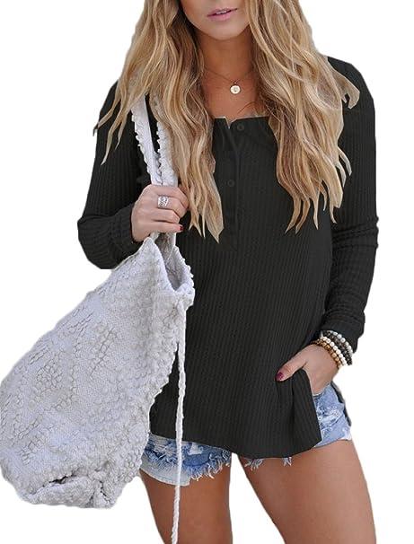 9a46c38992e77d Dizoo Fisy Womens Shirts Long Sleeve Tops Henley Button V Neck Ribbed Loose  Tee Blouses Black