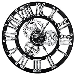16 Round Wall Clock, Antique Handmade Wooden Vintage 3D Gear Design, By Chevy K. (Silver with Roman Numerals)