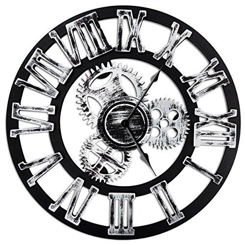 Antique Vintage 16 Round Wall Clock, Wooden Handmade 3D Gear Design (Silver with Roman Numerals)
