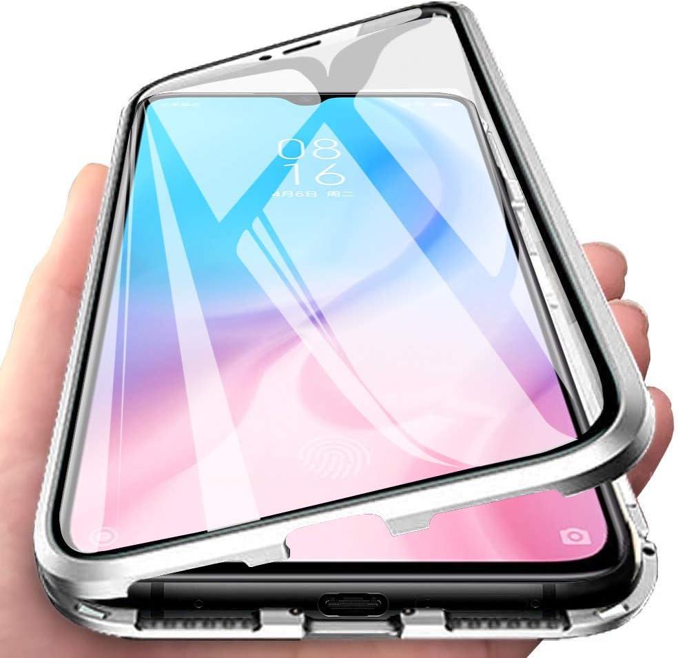 Funda para Xiaomi Mi 9 Lite Adsorcion Magnetica Carcasa 360 Grados Protección Estuche Doble Untre Delgada Vidrio Templado Marco Aluminio Anti Choque Metal Flip Cover