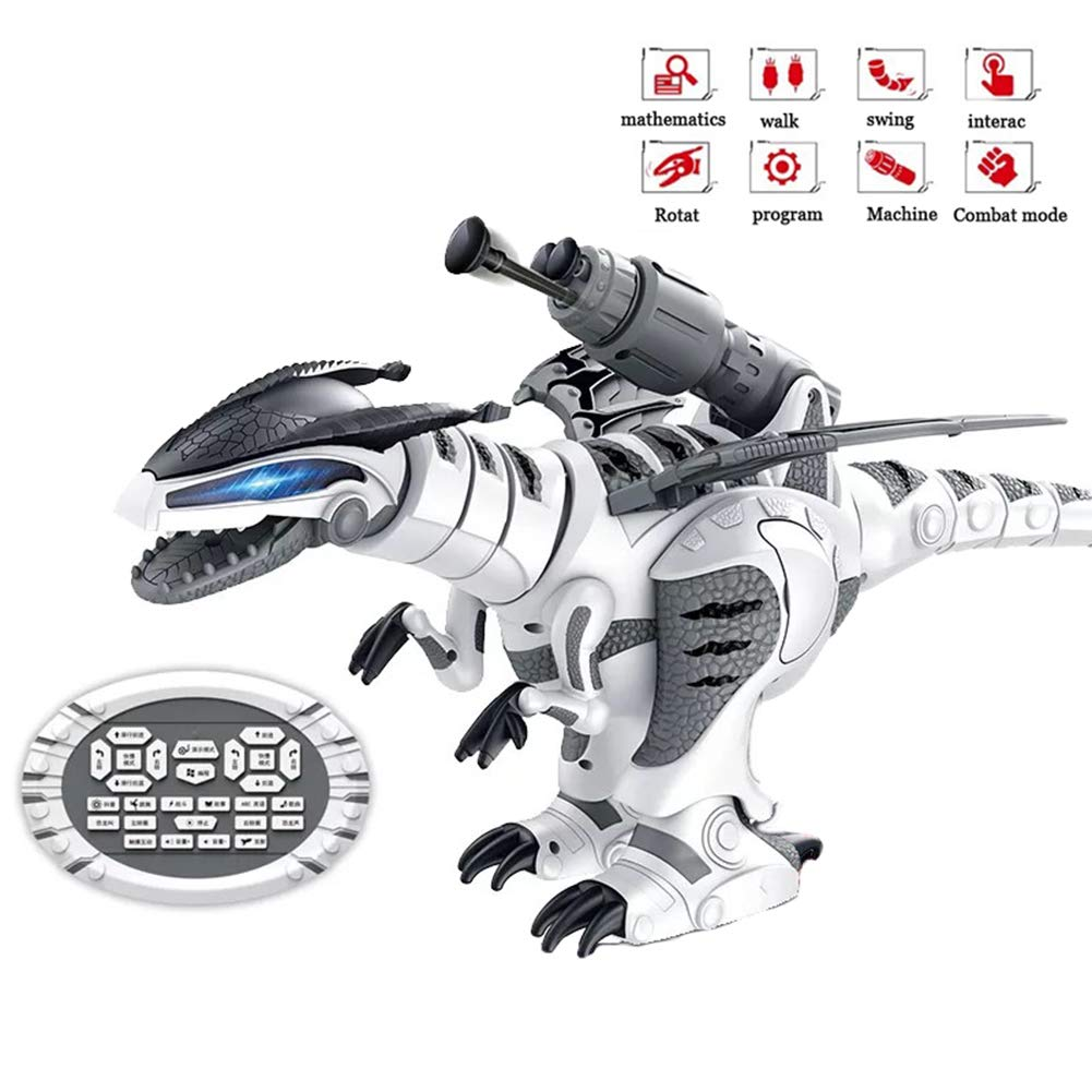 SLONG Remote Control Jurassic Dinosaur Robot Smart Interactive Toy Walking Dancing Singing and Fighting Mode Lighting Eyes Boys and Girls