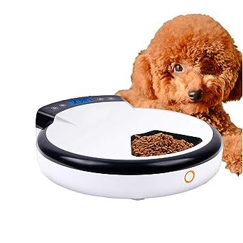 DJLOOKK Perros comederos automáticos, 5 bandejas de Comida Comida húmeda Seca, Dispensador automático de Alimentos para Mascotas Función de grabación de Voz ...