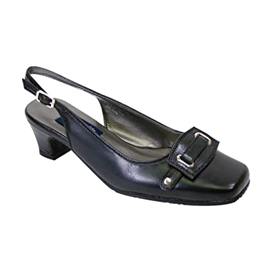 77a2a06d4ee Peerage Annabelle Women Extra Wide Width Closed Square Toe Embellished Toe  Cap Slingback Black 5