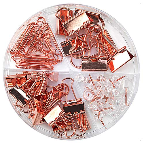 Paper Clips Binder Clips Push Pins Sets with Acrylic Box - Office Supplies, School Accessories and Home Supplies (Rose Gold)
