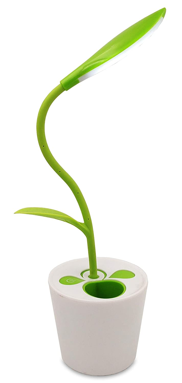 ZHOPPY LED Desk Lamp, 3-level Dimmer Touch Sensitive Control, Flexible Gooseneck, Portable USB Rechargeable Kids Book Light, Plant Pencil Holder, Green