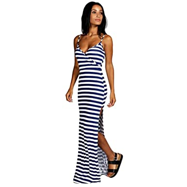 b7ff4649369 Women Summer Dresses DIKEWANG Sexy Ladies Trendy Stripe Strappy V Neck Long  Split Maxi Dress Beach Dress  Amazon.co.uk  Clothing