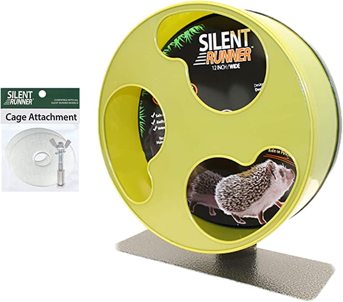 "Exotic Nutrition Silent Runner 12"" Wide + Cage Attachment - Silent, Fast, Durable Exercise Wheel - Sugar Gliders, Degus, Rats, Hedgehogs, Prairie Dogs & Small Pets"