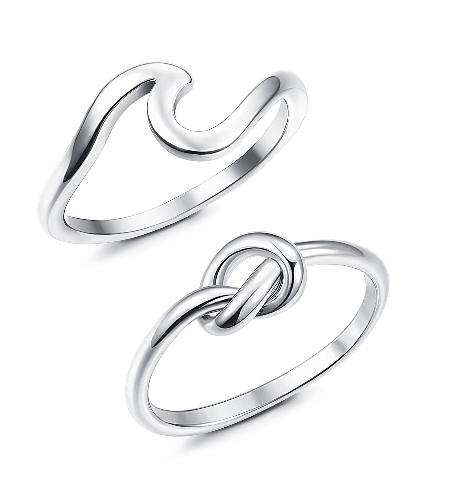 JOERICA 2PCS Stainless Steel Love Knot Womens Rings for Girls Wave Rings Size 8